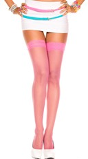 Sheer Thigh High with Lace Trim - Fuchsia