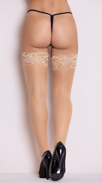 Lace Top Thigh High with Back Seam - Beige