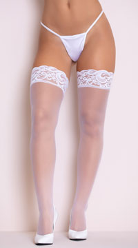 Lace Top Thigh High with Back Seam - White