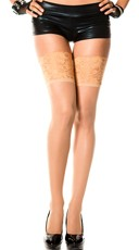 Sheer Thigh High with Wide Lace Top - Beige