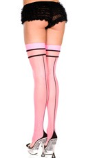 Two Tone Sheer Thigh High - Pink/Black