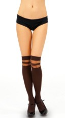 Opaque Thigh High with Sheer Bands - Coffee