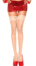 Lace Top Sheer Thigh High - Beige