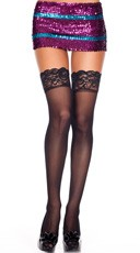 Lace Top Sheer Thigh High - Black