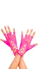 Lace Up Gloves - Neon Pink