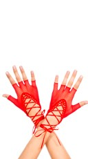 Lace Up Gloves - Red