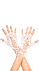 Lace Up Gloves - White