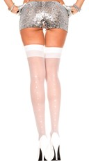 Sheer Thigh High with Rhinestones - White