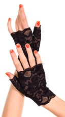 Baby Pink Lace Gloves - Black
