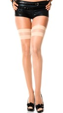 Sheer Thigh Highs with Spandex Stripes - Beige