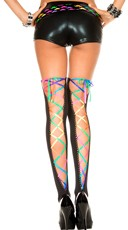 Rainbow Back Lace Stockings - Black/Rainbow