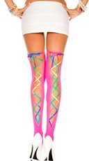 Rainbow Back Lace Stockings - Neon Pink/Rainbow