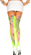 Rainbow Back Lace Stockings - Neon Green/Rainbow