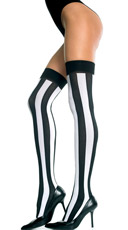 Opaque Vertical Striped Thigh Highs - Black/White