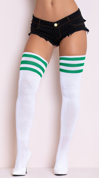 Athletic Striped Thigh Highs - White/Kelly