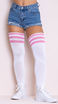 Athletic Striped Thigh Highs - White/Pink