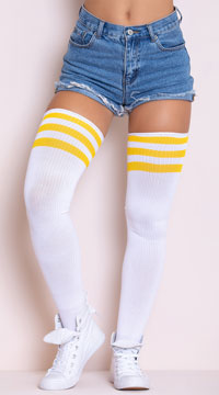 Athletic Striped Thigh Highs - White/Yellow