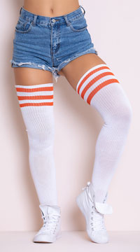 Athletic Striped Thigh Highs - White/Orange