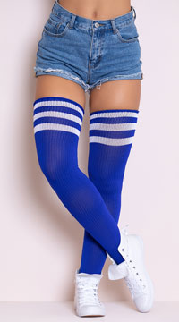 Athletic Striped Thigh Highs - Royal Blue/White