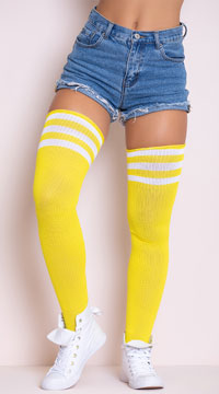 Athletic Striped Thigh Highs - Yellow/White