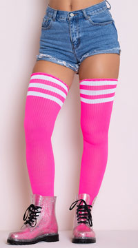 Athletic Striped Thigh Highs - Hot Pink/White