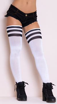 Athletic Striped Thigh Highs - White/Black