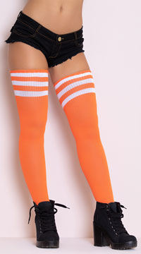 Athletic Striped Thigh Highs - Neon Orange/White