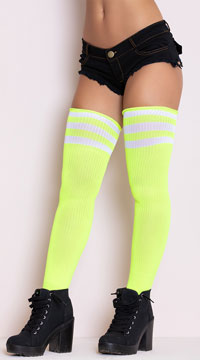Athletic Striped Thigh Highs - Neon Yellow/White