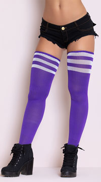 Athletic Striped Thigh Highs - Purple/White