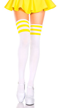 Athletic Striped Thigh Highs - White/Neon Yellow