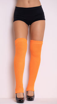 Thigh High Leg Warmers - Neon Orange