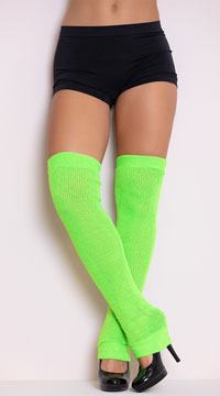 Thigh High Leg Warmers - Neon Green