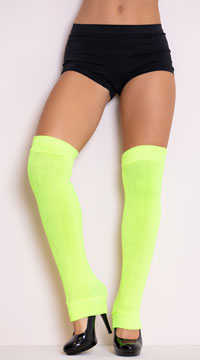 Thigh High Leg Warmers - Neon Yellow