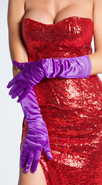 Satin Gloves - Purple