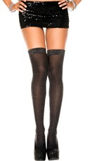 Lurex Thigh High - Black/Silver