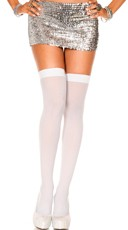 Lurex Thigh High - White/Silver