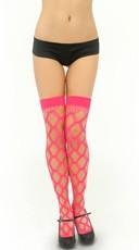 Multi Fence Net Thigh High - Hot Pink