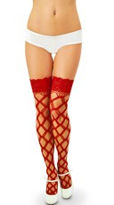 Multi Fence Net Thigh High with Lace Top - Red