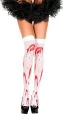 Bloody Thigh Highs - White/Red