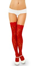 Lace Thigh High with Lace Top - Red