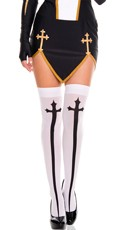 Cross Print Stockings - White/Black