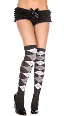 Sheer Argyle Thigh High Socks - Black/White