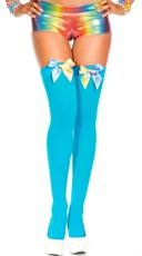 Rainbow Bow Stockings - Turquoise