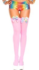 Rainbow Bow Stockings - Neon Pink