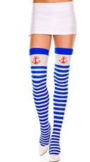Striped Thigh High with Anchor - Blue/White