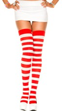 Wide Striped Thigh Highs - Red/White