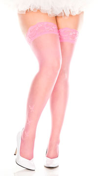 Plus Size Sheer Thigh Highs with Butterflies - Fuchsia