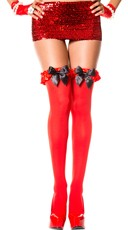 Thigh High with Satin Ruffle and Bow - Red/Black