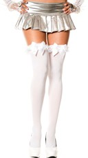 Thigh High with Satin Ruffle and Bow - White