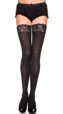 Opaque Striped Lace Top Thigh Highs - Black